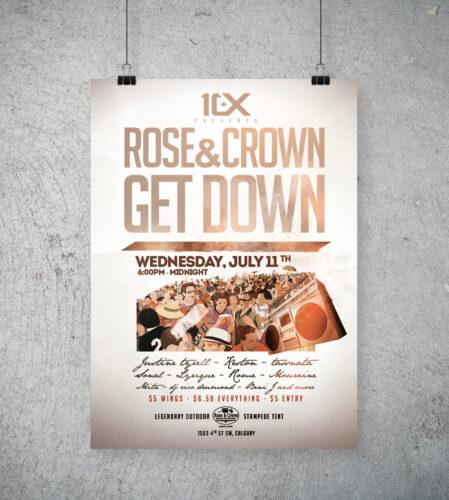 Rose N' Crown Get Down party poster