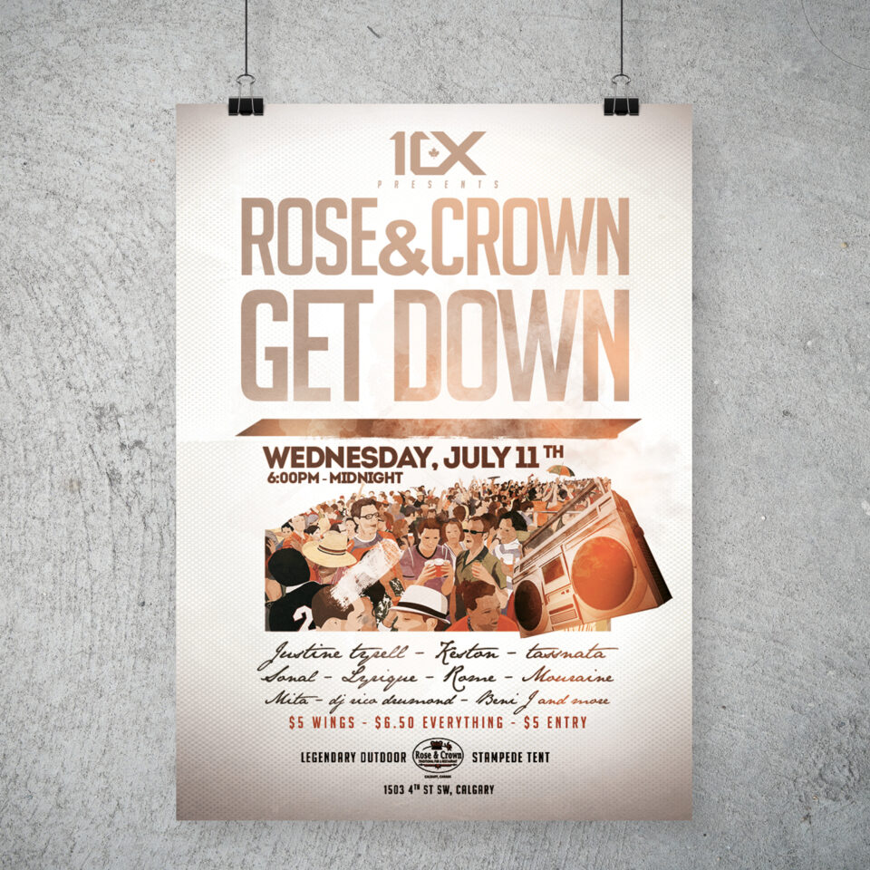 Rose N' Crown Get Down party poster